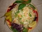 Зелевата, с малко морковки и целина, настискана и овкусена.